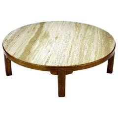 "Edward Wormley 48"" Diameter Five-Leg Mahogany & Travertine Coffee Table"