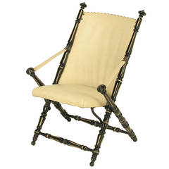 English Style Black Lacquer and Parcel-Gilt Folding Campaign Chair