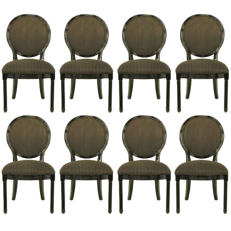 Eight Rare Jay Spectre Black Lacquer Dining Chairs 1