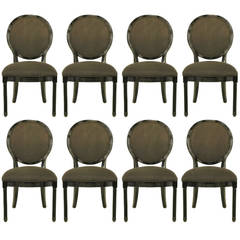 Eight Rare Jay Spectre Black Lacquer Dining Chairs