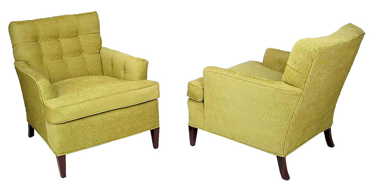 Pair Of Heritage Henredon Club Chairs In Quilted Sage Wool