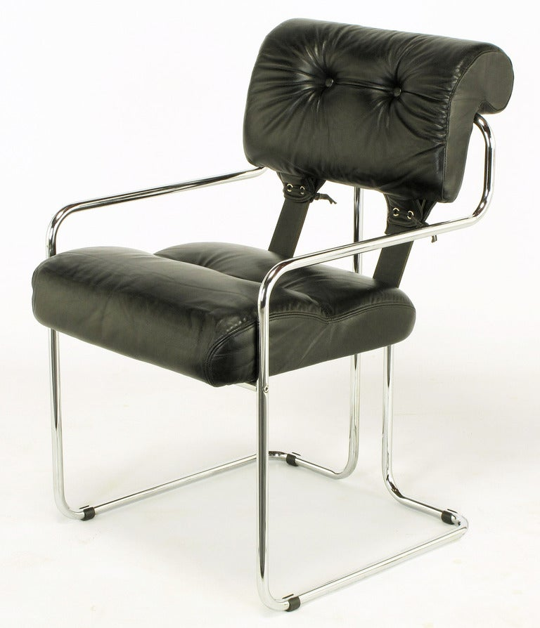 Guido faleschini for pace black leather and chrome dining for Leather and chrome dining chairs