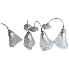 Four Handblown Glass Hanging Fixtures