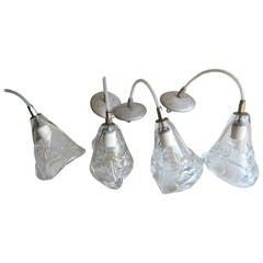Four Handblown Glass Hanging Fixtures
