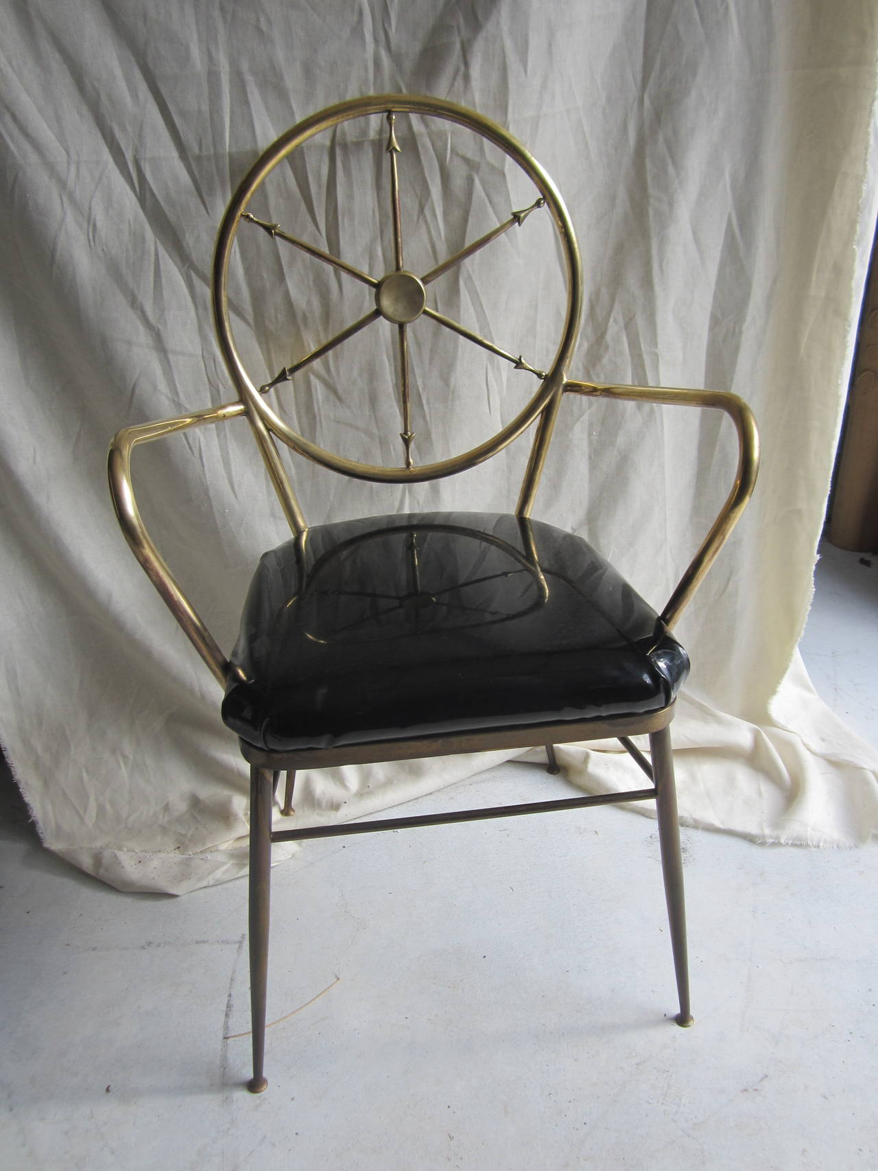 Set Of Four Italian Gio Ponti Style Compass Back Chairs
