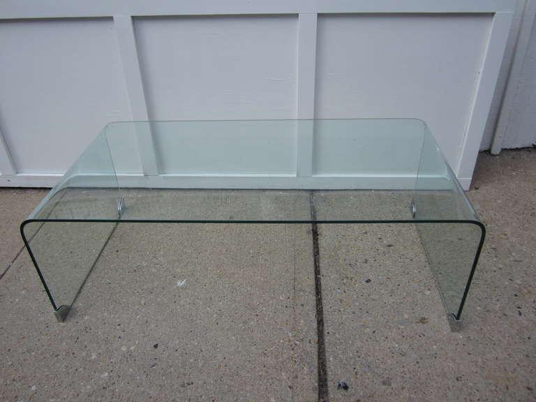 Modern Glass Waterfall Coffee Table At 1stdibs