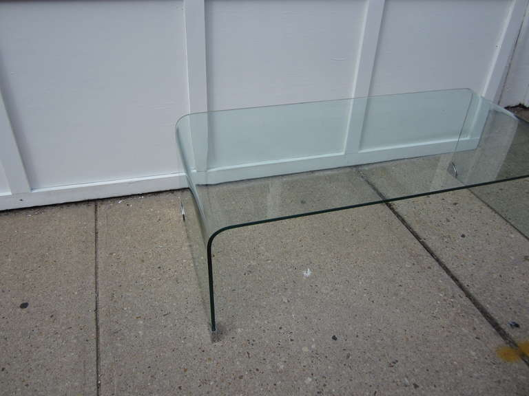 modern glass waterfall coffee table at 1stdibs