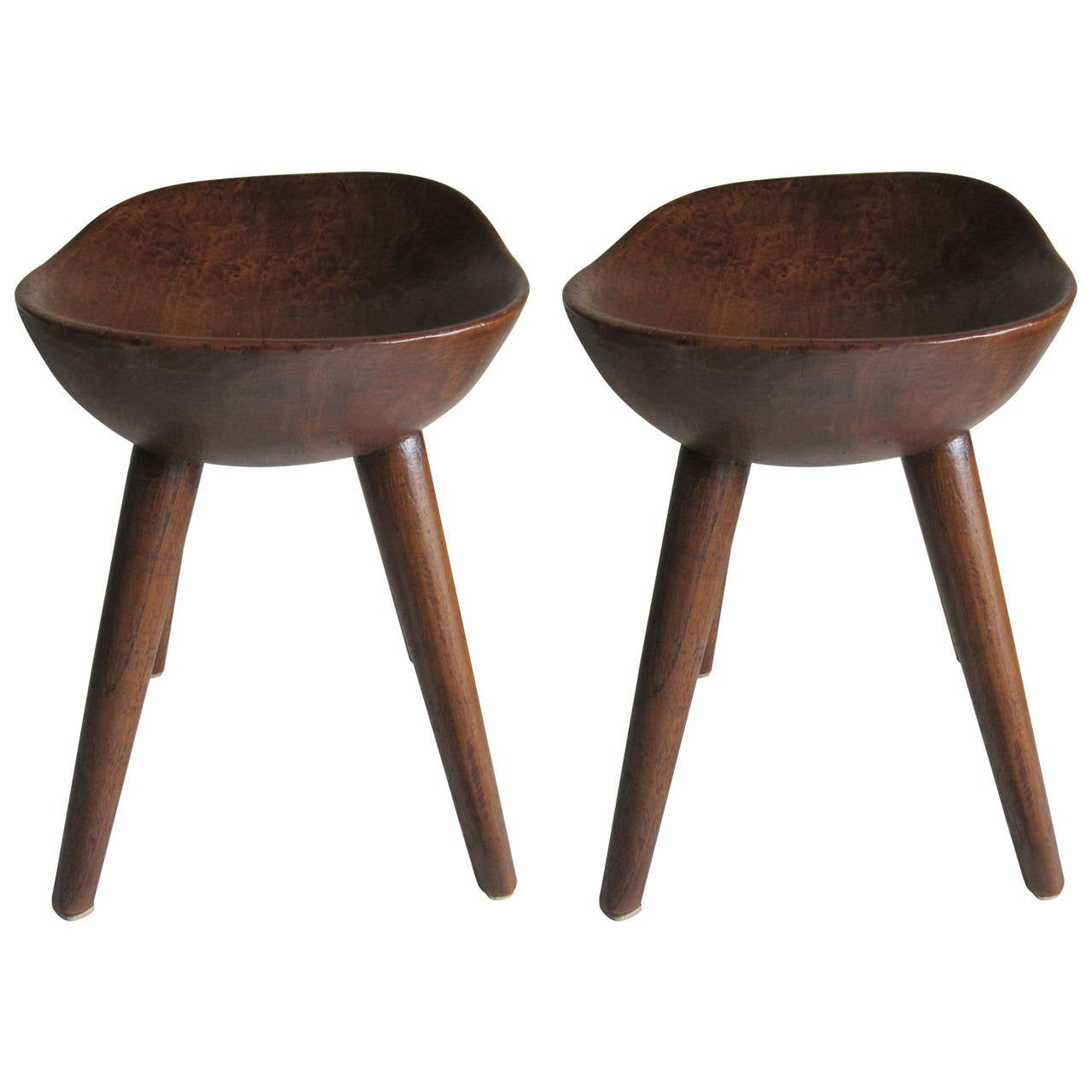 Pair Of Carved Wood Stools At 1stdibs