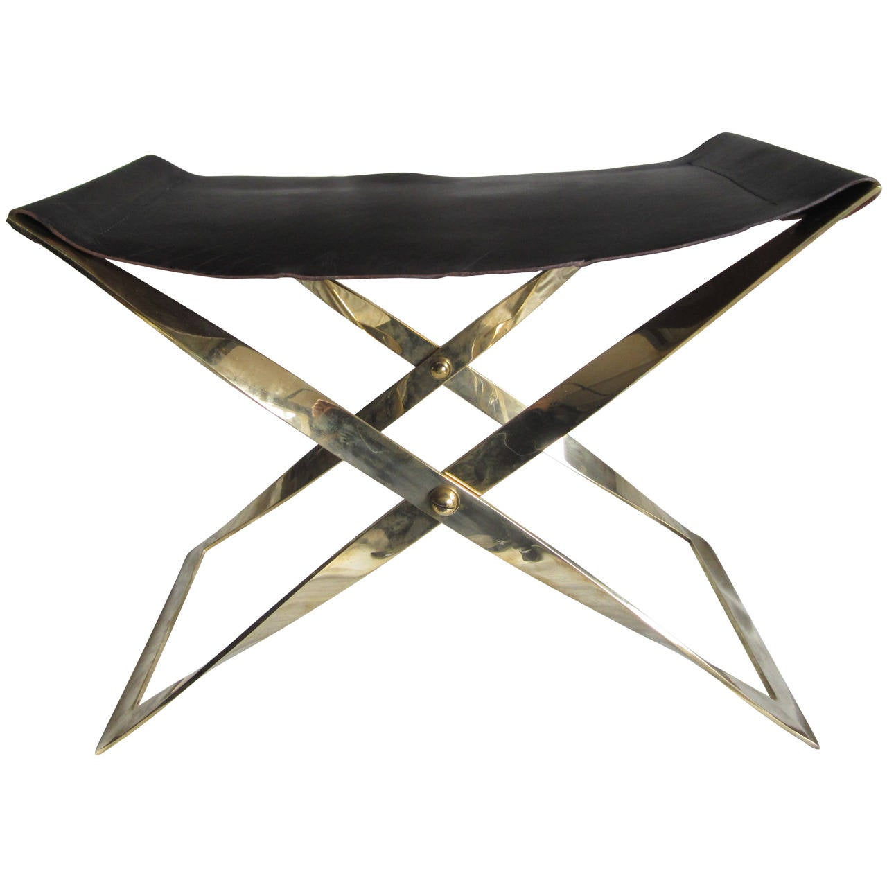 Brass Stool With Leather Sling Seat At 1stdibs