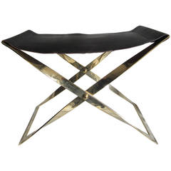 Brass Stool with Leather Sling Seat