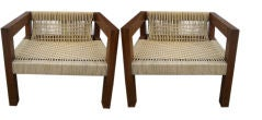 Pair of Modern Rope and Wood Low Arm Chairs