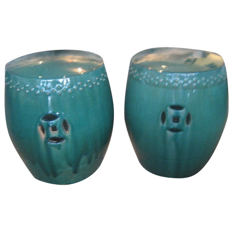 Pair Of Chinese Garden Stools At 1stdibs