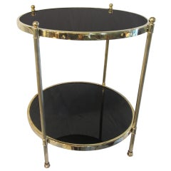 Two-Tier Brass and Black Glass Side Table