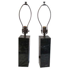Pair of Modern Green Marble Lamps