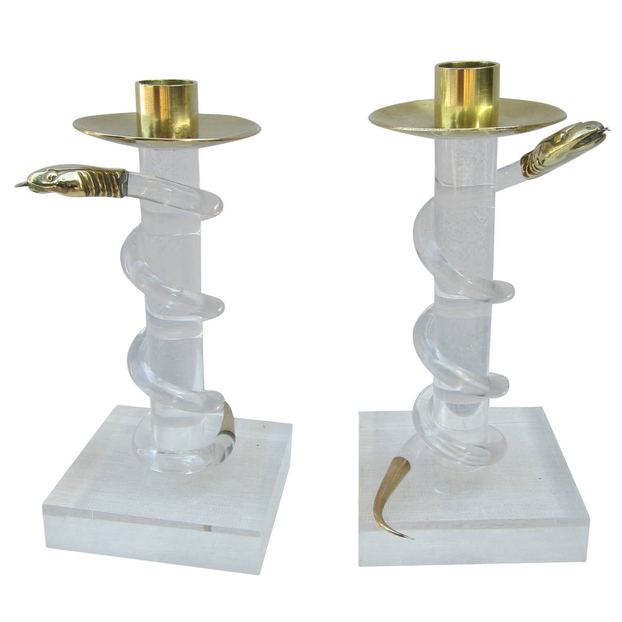 Pair of Brass and Lucite Candlesticks by Allesandro Albrizzi