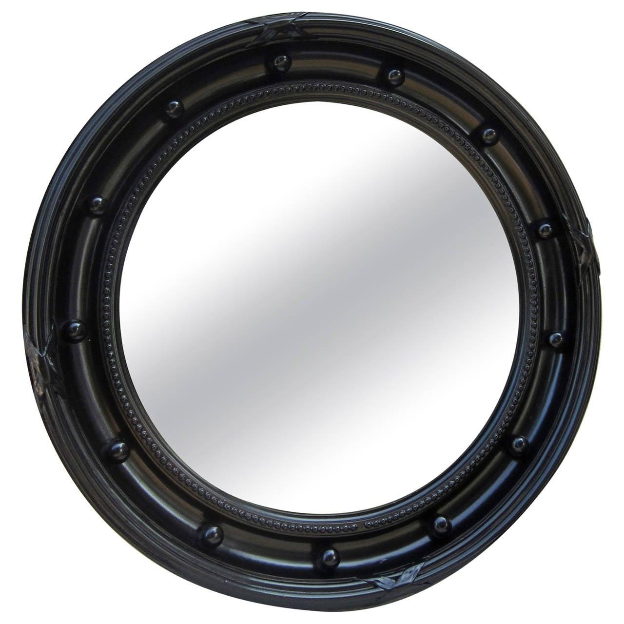 Large black framed convex mirror at 1stdibs for Large black framed mirror