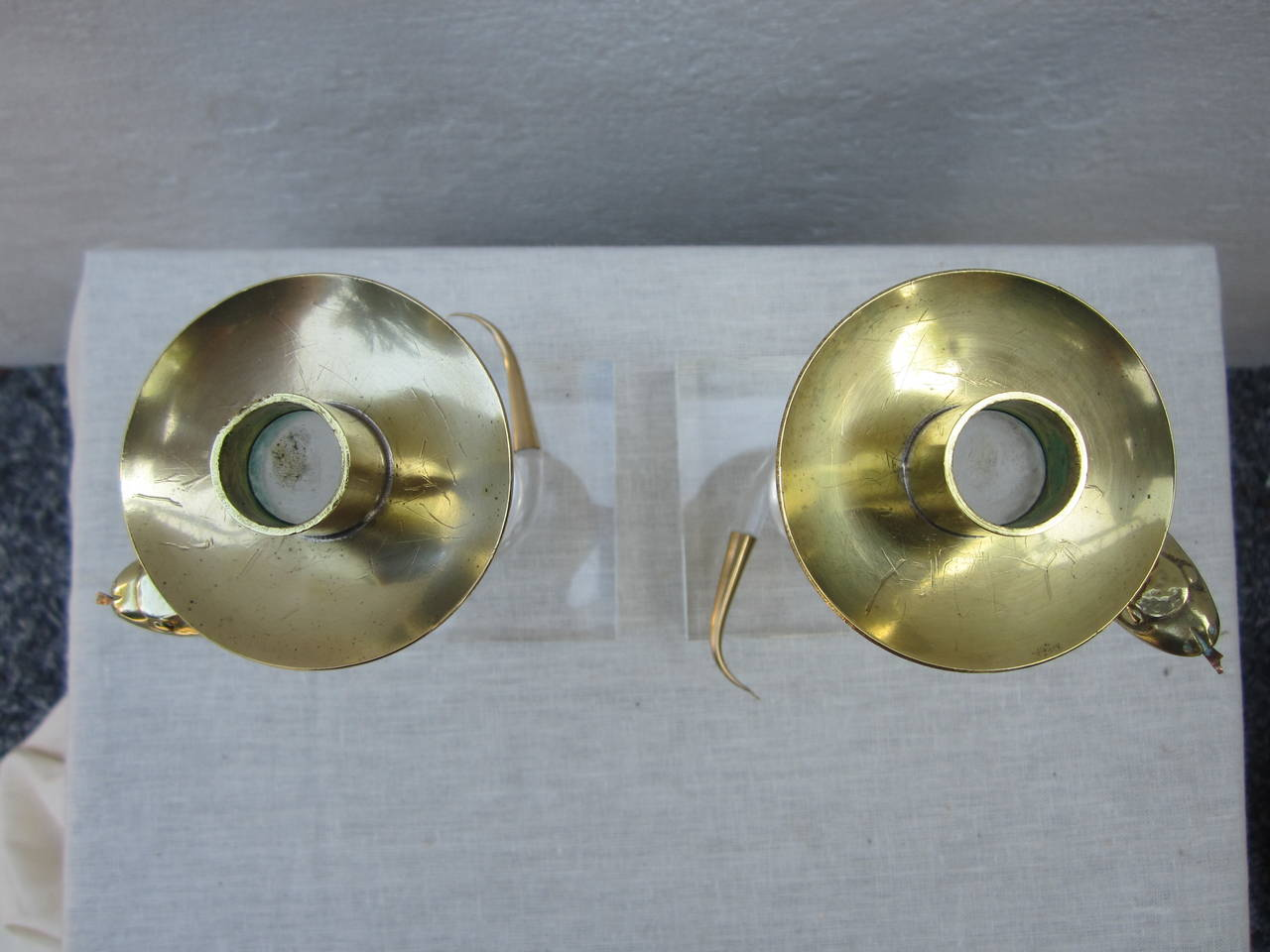 Pair of Brass and Lucite Candlesticks by Allesandro Albrizzi For Sale 2