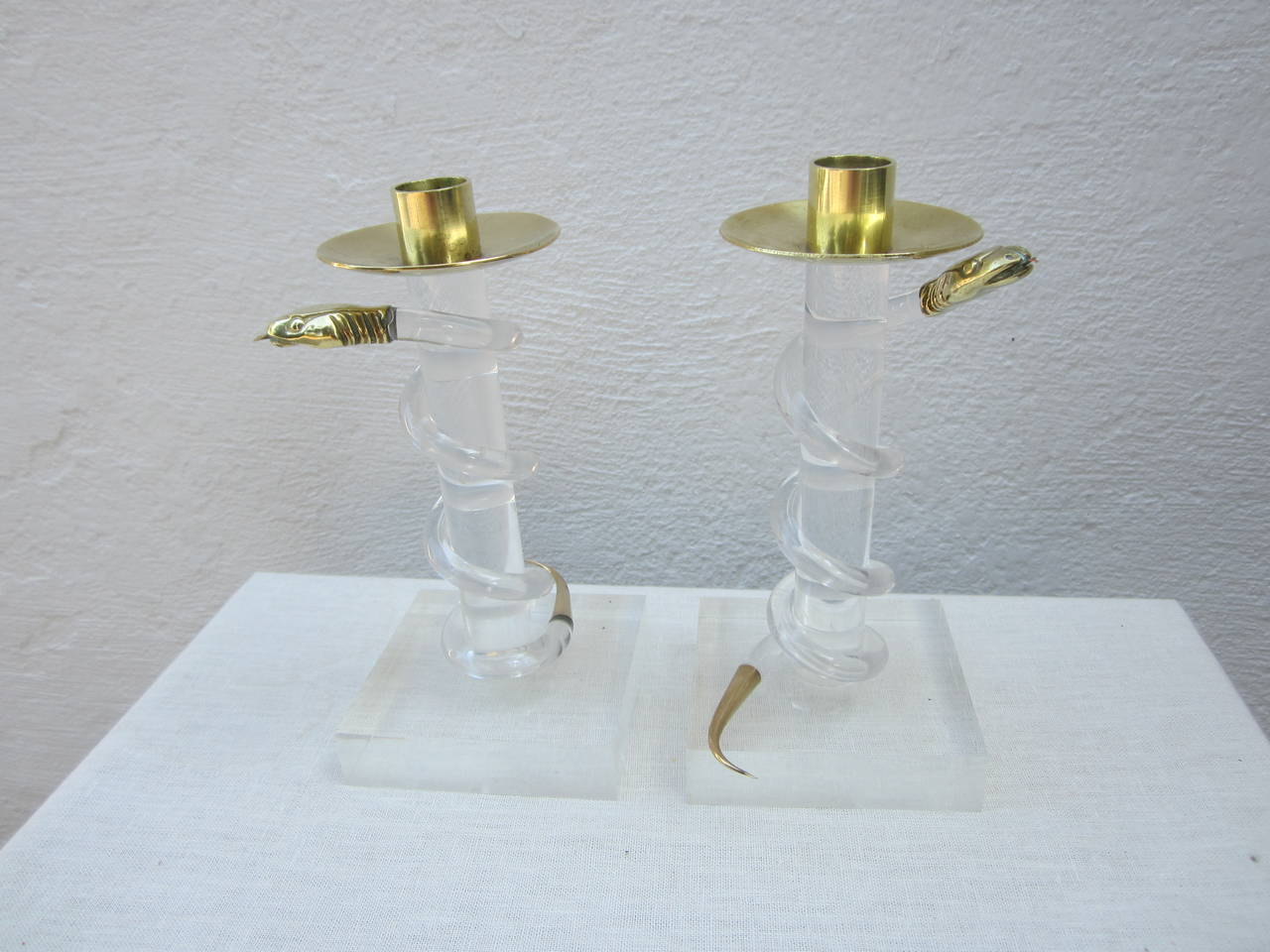 Pair of Brass and Lucite Candlesticks by Allesandro Albrizzi For Sale 3