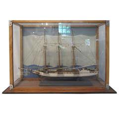 Wood Model Sailboat Diorama