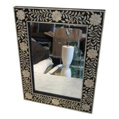 Indian Wood with Inlaid Bone Framed Mirror
