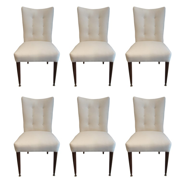 Set of 6 modern dining chairs in the italian style at 1stdibs for Italian dining chairs modern