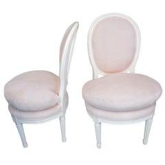 Pair of Louis XVI Style Slipper Chairs