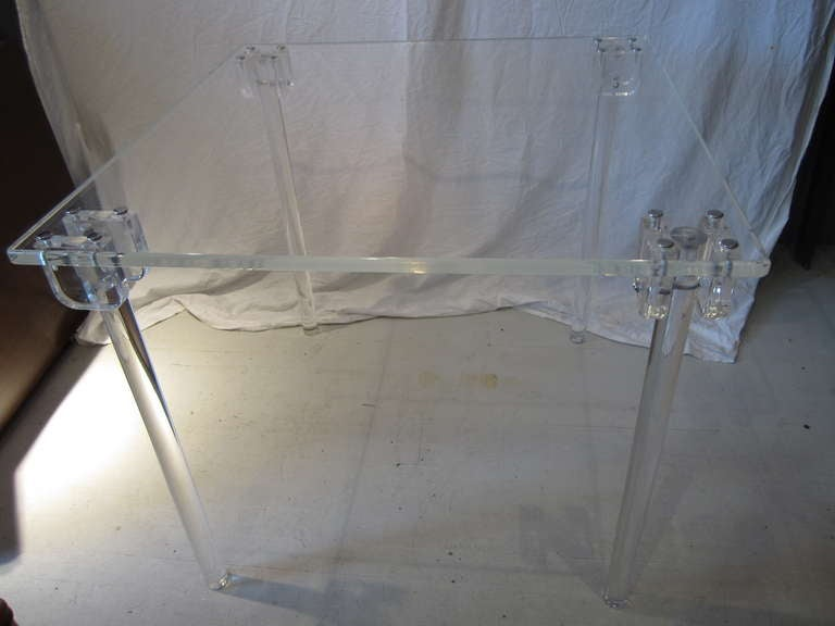 Pair of Lucite Card/Side Tables image 6