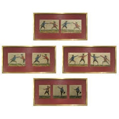 Set of Four English Fencing Prints, 18th Century