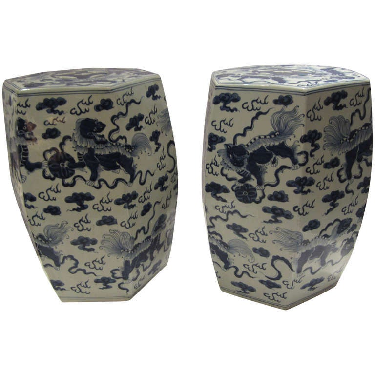 Pair Of Chinese Garden Seats At 1stdibs