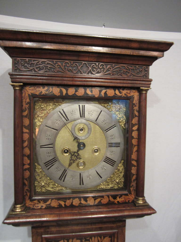 """Late 17th century walnut and marquetry longcase clock. Marked """"Windmills, London"""""""