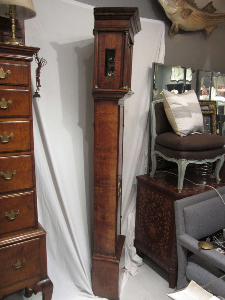 18th Century and Earlier 17th Century Walnut and Marquetry Longcase Clock For Sale