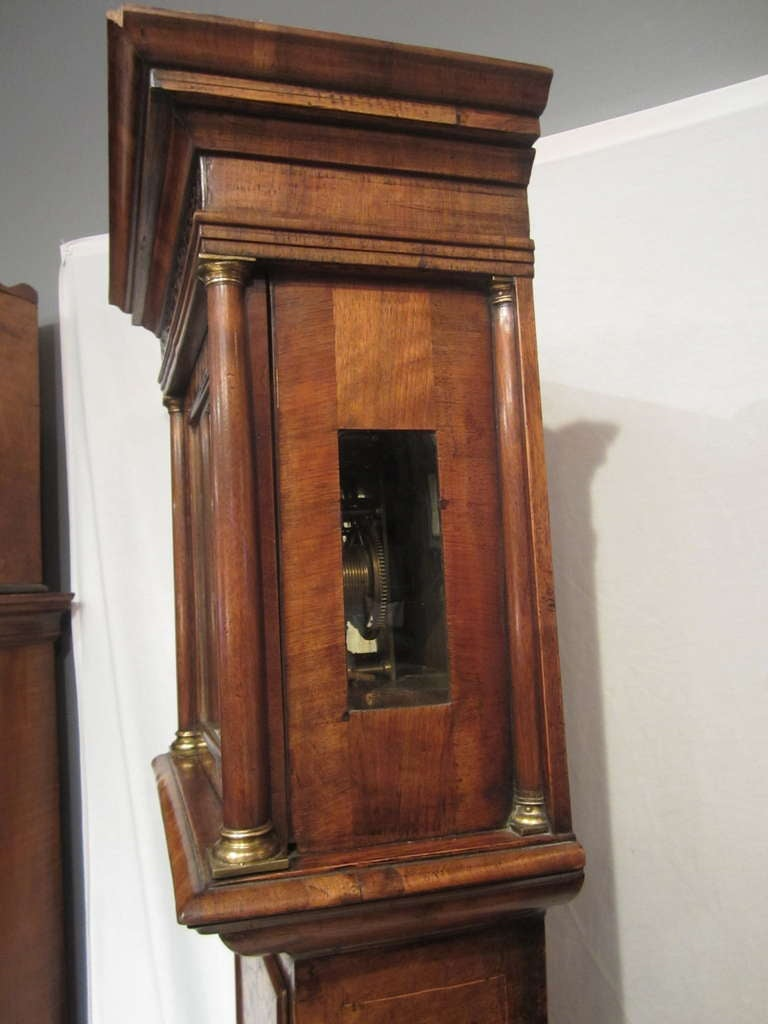 17th Century Walnut and Marquetry Longcase Clock For Sale 1