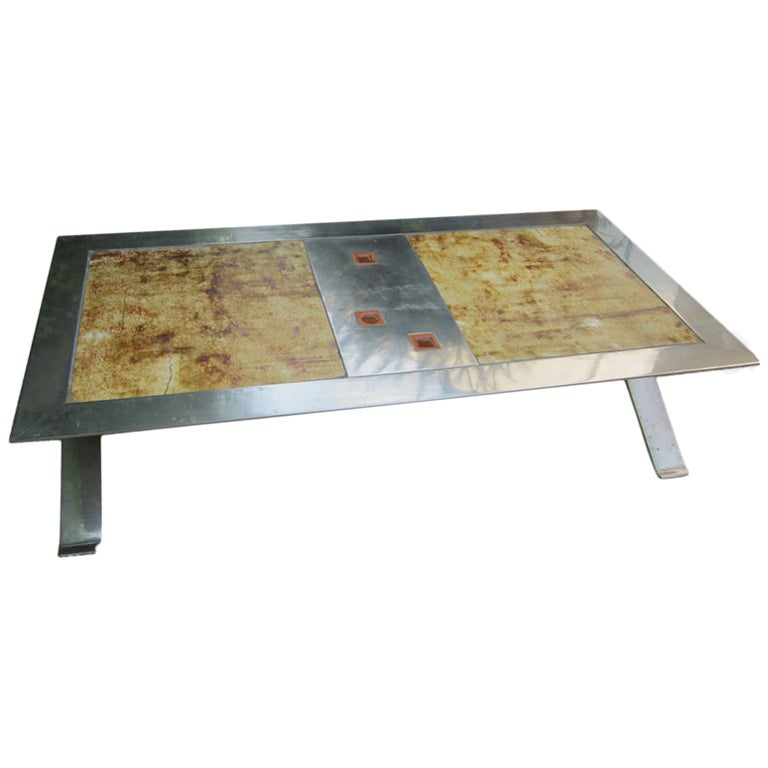 Steel And Ceramic Coffee Table At 1stdibs