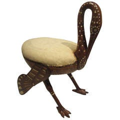 Exceptional and Rare Egyjptian Revival Ibis Form Stool