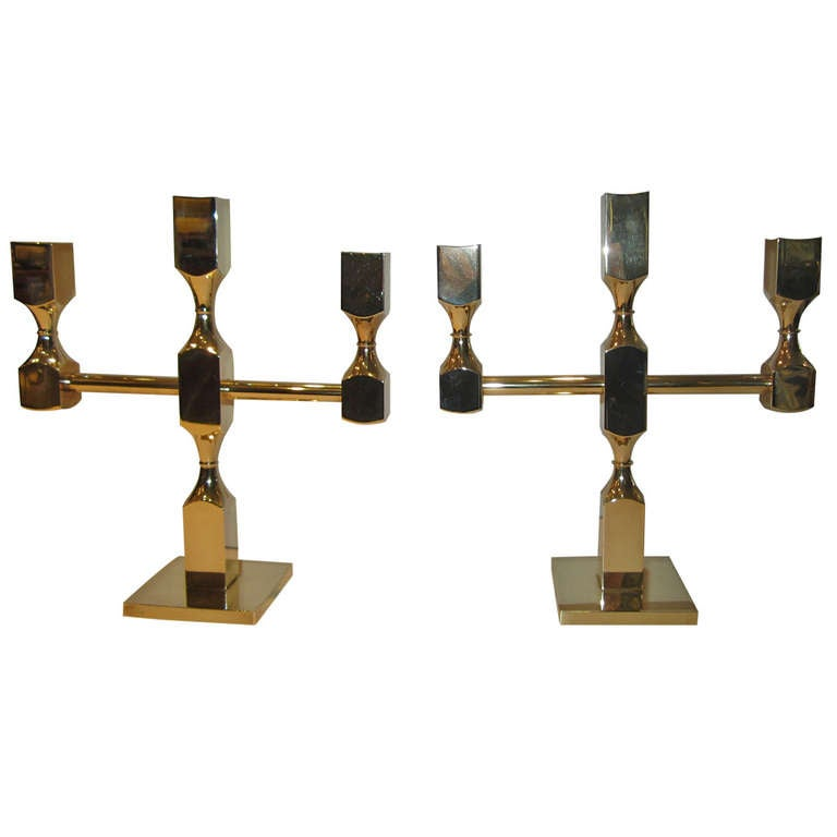 Pair of Gusums Bruk Brass Candelabras