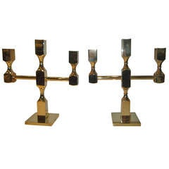 Pair of Gusums Bruk Brass Candelabra