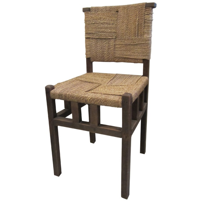 French Woven Seagrass Side Chair For Sale