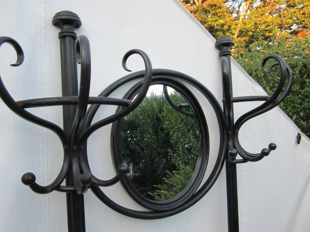 Ebony thonet bentwood double hall tree with mirror.