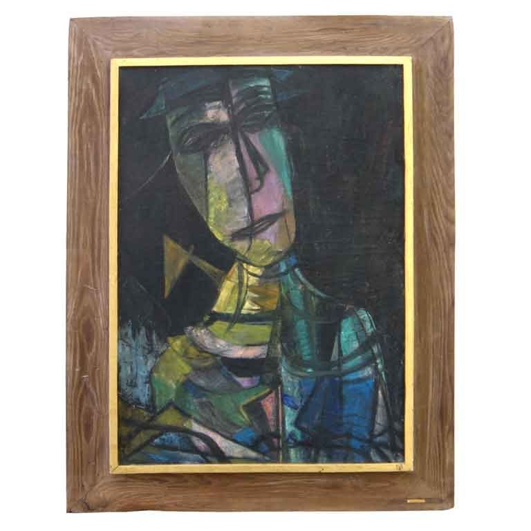 Large 1950 S Cubist Oil On Canvas At 1stdibs