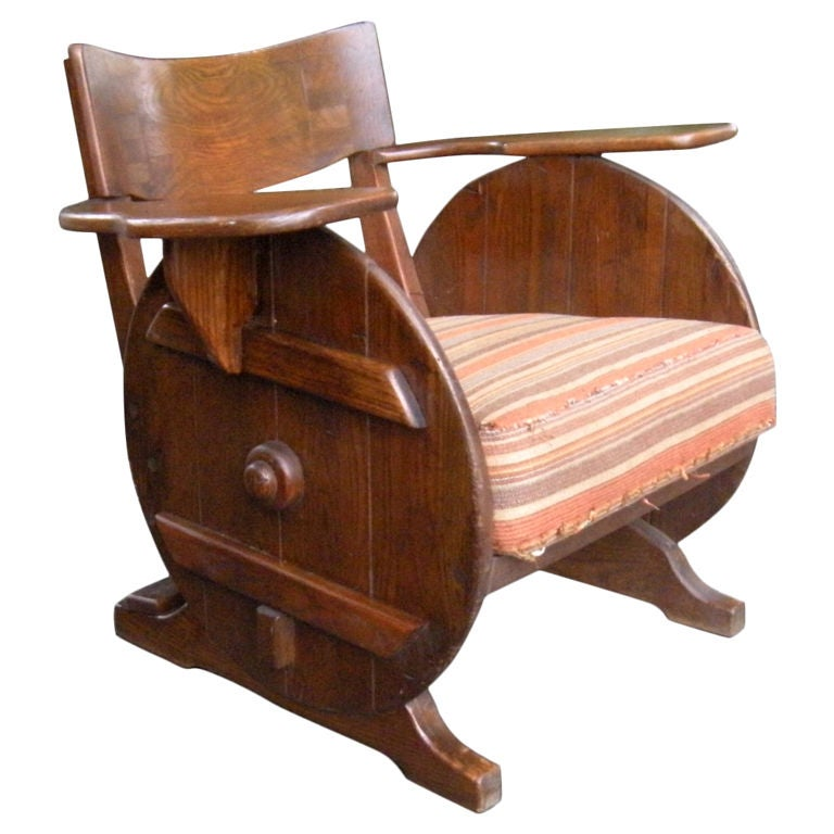 Unusual Old Hickory club chair armchair at 1stdibs