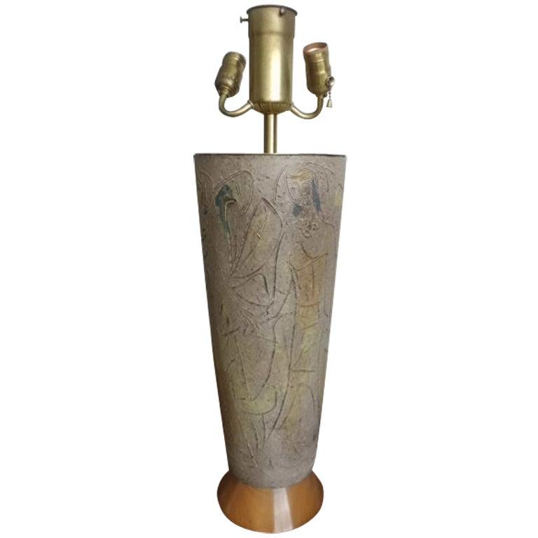 large 1950 39 s ceramic lamp on wood base at 1stdibs. Black Bedroom Furniture Sets. Home Design Ideas