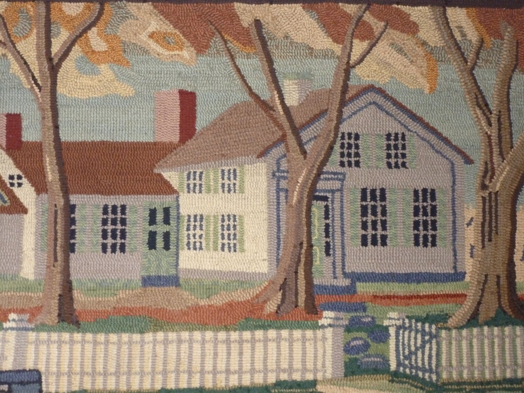 Hooked Rug.  Traditional American Country House. In Excellent Condition For Sale In New York, NY