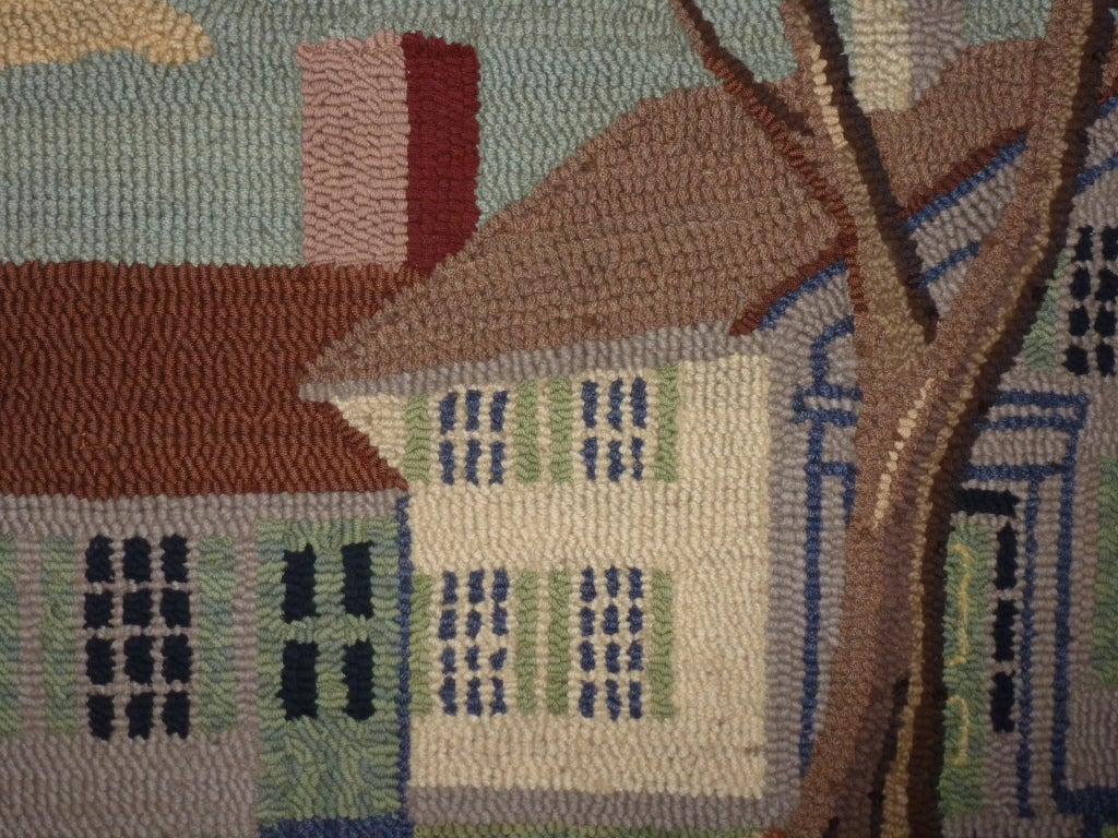 20th Century Hooked Rug.  Traditional American Country House. For Sale