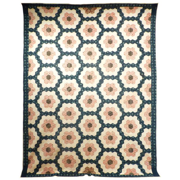"""Antique Quilt """"Mosaic Hexagons"""""""