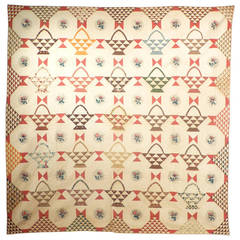 "Antique Quilt, ""Baskets"" with Chintz Rose Medallions and ""Birds-in-Air"" Border"
