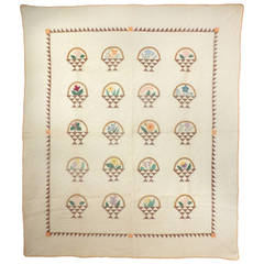 """Baskets of Flowers"" Vintage Quilt."