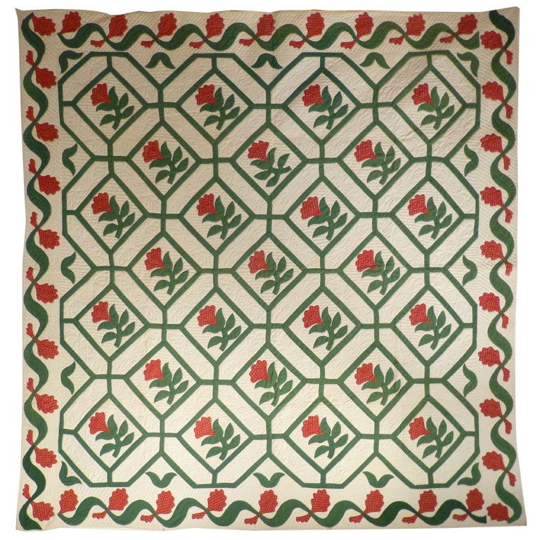 Antique Quilt Floral Applique within Pieced Maze