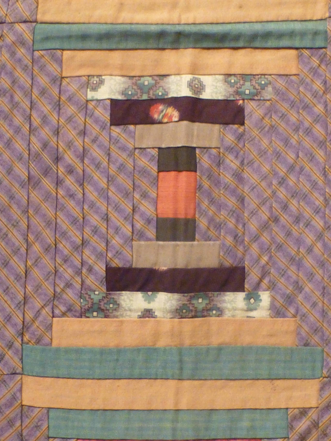 """Log Cabin-Courthouse Steps"" Antique Quilt 4"