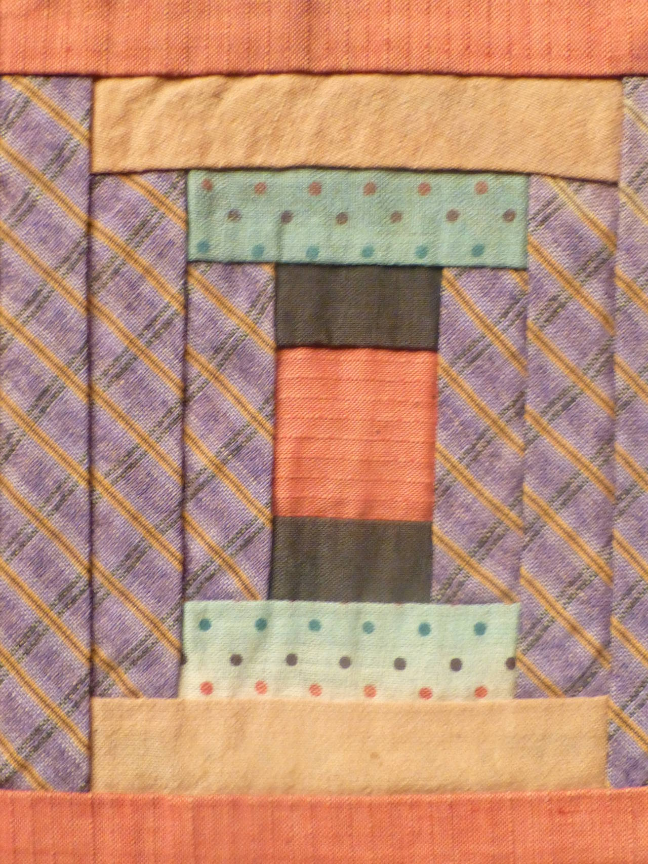 """Log Cabin-Courthouse Steps"" Antique Quilt 9"