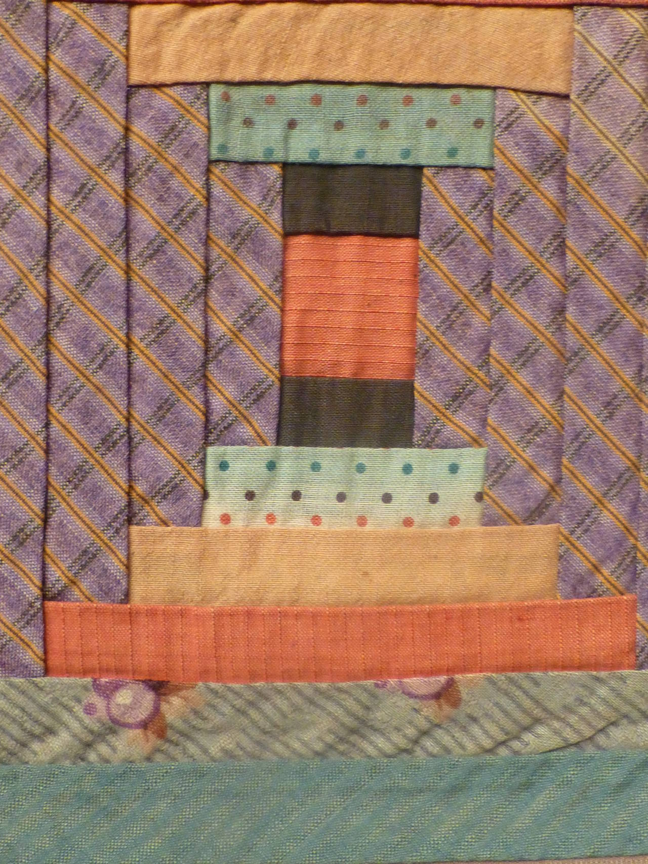 """Log Cabin-Courthouse Steps"" Antique Quilt 7"